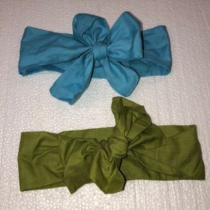 Two one of a kind adjustable headbands